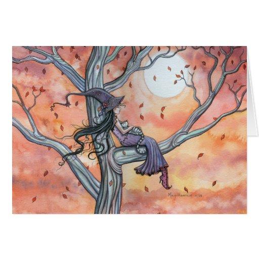 Tarjeta del gato de la bruja del otoño de Hallowee