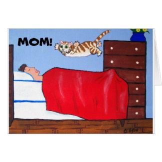 Tarjeta del gato del día de madres de la diversión