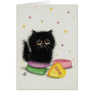 Tarjeta del gato del día de tarjetas del día de