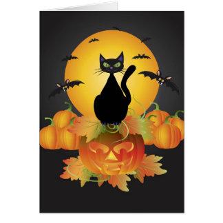 Tarjeta del gato negro de Halloween