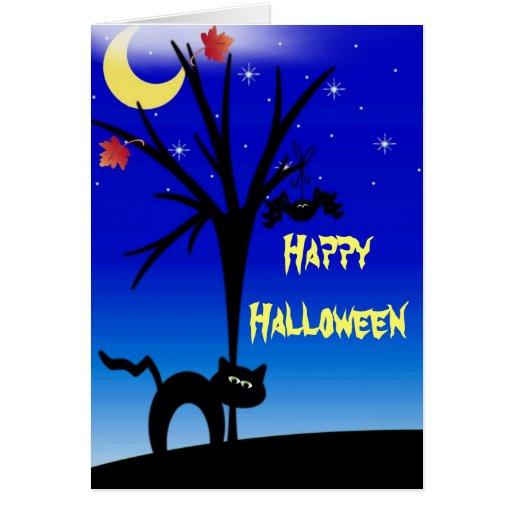 Tarjeta del gato negro del feliz Halloween