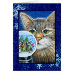 Tarjeta del gato w/Snowglobe del navidad
