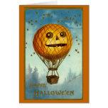 Tarjeta del globo del aire caliente de Halloween d