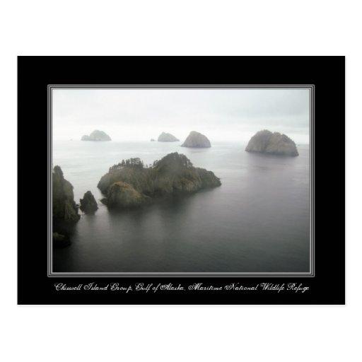 Tarjeta del golfo de Alaska del grupo de islas de  Postales