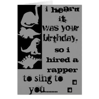 Tarjeta del golpeador del cumpleaños del Velocirap