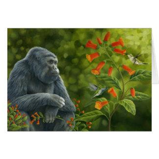 Tarjeta del gorila y de los colibríes