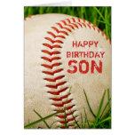Tarjeta del hijo del feliz cumpleaños del béisbol