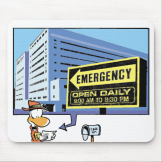 Tarjeta del hospital del dibujo animado del alfombrilla de raton