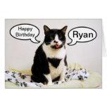 Tarjeta del humor de Ryan del cumpleaños del gato