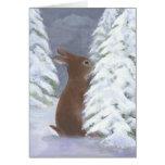 Tarjeta del invierno del conejito