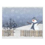 tarjeta del invierno del muñeco de nieve comunicado personal