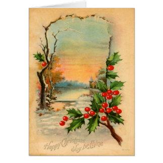 Tarjeta del invierno del navidad del vintage