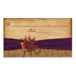 Tarjeta del lugar de la arpillera de las hojas de  plantilla de tarjeta de visita