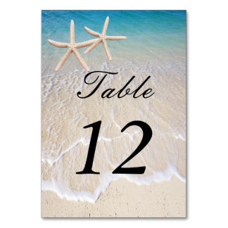 Tarjeta del lugar de la tabla del boda de playa de