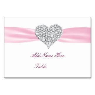 Tarjeta del lugar de la tabla del boda del rosa