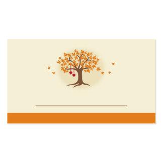 Tarjeta del lugar del árbol de la caída tarjetas de visita