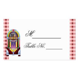 tarjeta del lugar del boda de la máquina tocadisco tarjeta personal