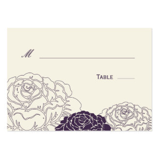 Tarjeta del lugar del boda de la rosaleda - púrpur tarjetas de visita grandes