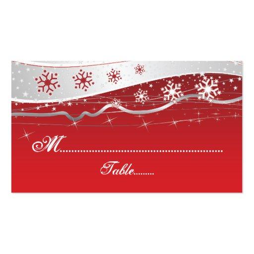 Tarjeta del lugar del boda del copo de nieve del g plantillas de tarjetas personales