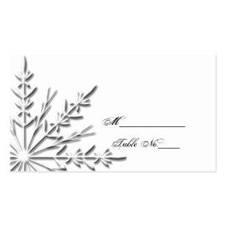 Tarjeta del lugar del boda del copo de nieve plantillas de tarjetas de visita