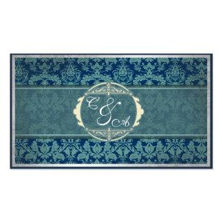 Tarjeta del lugar del boda del damasco del vintage tarjetas de visita