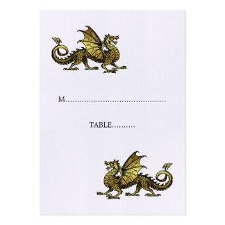 Tarjeta del lugar del boda del dragón del oro tarjetas de visita grandes