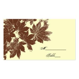 Tarjeta del lugar del boda del sello de la hoja tarjetas de visita