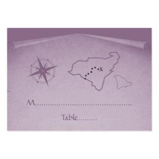 Tarjeta del lugar del mapa del tesoro, púrpura plantilla de tarjeta personal