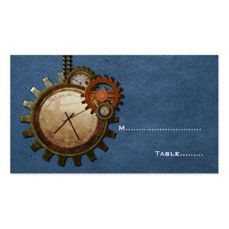 Tarjeta del lugar del reloj del vintage, azul tarjetas de visita