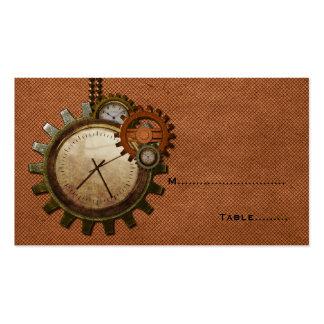 Tarjeta del lugar del reloj del vintage, cobre tarjetas de visita