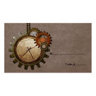 Tarjeta del lugar del reloj del vintage, moca tarjetas de visita
