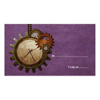 Tarjeta del lugar del reloj del vintage, púrpura tarjetas de visita
