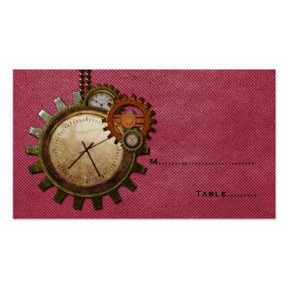 Tarjeta del lugar del reloj del vintage, rosada tarjetas de visita
