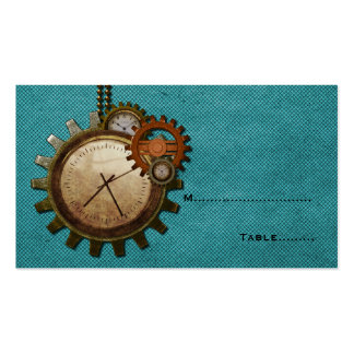 Tarjeta del lugar del reloj del vintage, turquesa tarjetas de visita