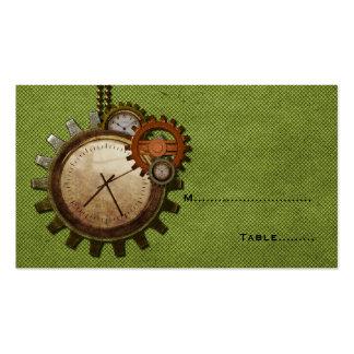 Tarjeta del lugar del reloj del vintage, verde tarjetas de visita