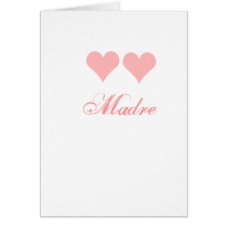 tarjeta del madre con los corazones rosados