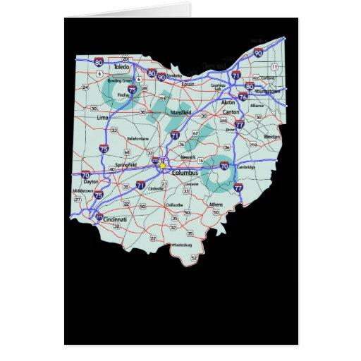 Tarjeta del mapa de Ohio