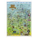 Tarjeta del mapa del dibujo animado del país de la