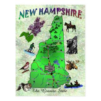 Tarjeta del mapa del estado de New Hampshire Postal