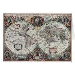 Tarjeta del mapa del mundo del vintage