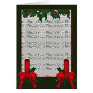 Tarjeta del marco de la foto del acebo del navidad