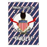 Tarjeta del Memorial Day con Eagle y la bandera