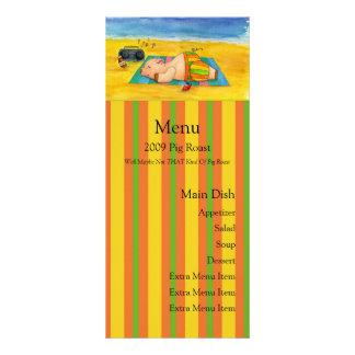 Tarjeta del menú de la carne asada del cerdo tarjeta publicitaria personalizada