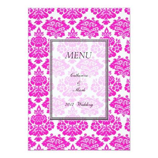 """tarjeta del menú de la cena, damasco invitación 5"""" x 7"""""""
