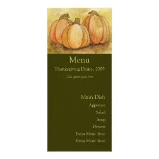 Tarjeta del menú de la cosecha de la calabaza tarjeta publicitaria a todo color