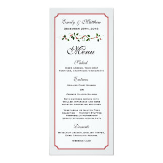 """Tarjeta del menú de la recepción nupcial del día invitación 4"""" x 9.25"""""""