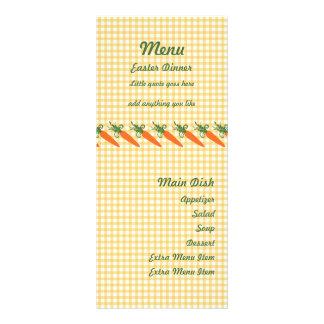 Tarjeta del menú de la zanahoria de la guinga lona
