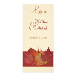 Tarjeta del menú de las hojas de otoño que se casa plantilla de lona