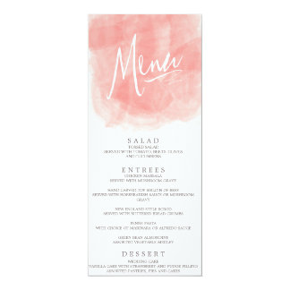 Tarjeta del menú del boda de la acuarela invitaciones personalizada
