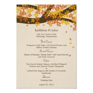 """Tarjeta del menú del boda de la caída del roble invitación 5"""" x 7"""""""